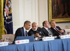 Barack Obama and Narendra Damodardas Modi Stock Photos
