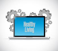 healthy living computer technology sign - stock illustration
