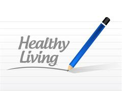 healthy living message sign concept - stock illustration