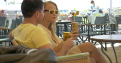 Couple Having a Date in Outdoor Cafe Stock Footage