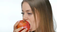 Young girl sexy eating a apple Stock Footage