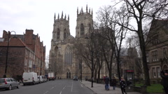 York England Cathedral street traffic tourism 4K Stock Footage