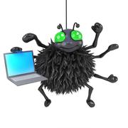 3d render of a spider holding a laptop - stock illustration