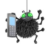 Stock Illustration of 3d render of a spider using a mobile phone