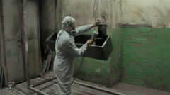 Powder coating in workshop Stock Footage