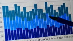 Analysing business charts - stock footage