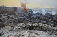 Panorama Defense Of Sevastopol in 1854-1855. Stock Photos