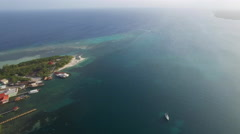 Aerial of beautiful seascape in Honduras Stock Footage
