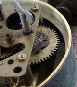 old and dirty clock mechanism closeup - stock photo