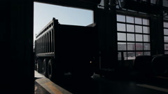 Trailer truck arrives at the service center Stock Footage