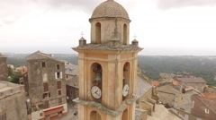 Aerial Corsica Drone cervione church Stock Footage