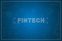 blueprint of fintech - stock illustration