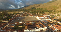 Aerial of Kite flying in Villa de Leyva, Colombia Stock Footage