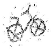 people in the shape of a bicycle - stock illustration