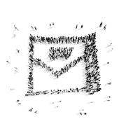 People  shape  letter  cartoon Stock Illustration