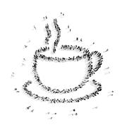 people in the shape of coffee - stock illustration