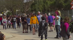 Crowd marching on the street Stock Footage