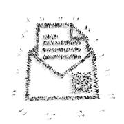 Stock Illustration of people in the shape of a letter
