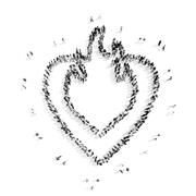 People in the shape of heart, cardio. Stock Illustration
