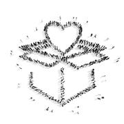 people in the shape of heart . - stock illustration