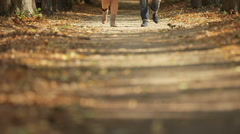 MEDIUM SHOT Woman and man walking on footpath in Autumn, low section Stock Footage