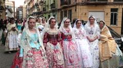 VALENCIA, SPAIN - falleras costumes Fallas festival editorial Stock Footage