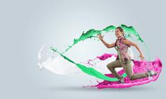 Energetic dancer Stock Illustration