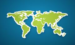 Vector colorful globe map sticker. Stock Illustration