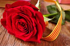 Rose with the Catalan flag and books, for Saint Georges Day Stock Photos
