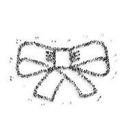 people  shape  bow tie - stock illustration