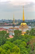 Admiralty building aerial view from the Colonnade of St. Isaac's Cathedral Saint - stock photo