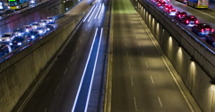 Cinemagraph of night scene of urban traffic.Time Lapse - Trail effect Stock Footage