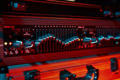 Audio equalizer in color light Stock Photos