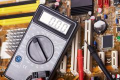 Electronic equipment, multimeter, microcircuit Stock Photos