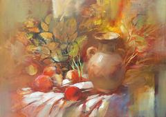 still life handmade painting - stock illustration