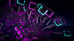 VJ Loop neon metal beats glass pipes structure rotating  128 bpm animated Stock Footage