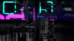 VJ Loop traveling across neon metal beats glass pipes 128 bpm animated Stock Footage