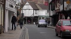 York England town center shopping market street fast 4K Stock Footage