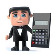 3d render of a man wearing a tuxedo and bow tie holding a calculator Stock Illustration