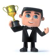 3d render of a man wearing a tuxedo and bow tie holding a gold cup trophy Stock Illustration