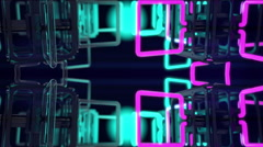 VJ Loop mirrored structure neon metal beats glass pipes 128 bpm animated Stock Footage