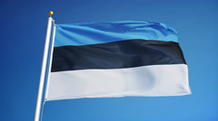 Estonia flag in slow motion seamlessly looped with alpha Stock Footage