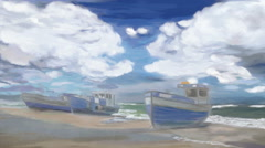 Stock Video Footage of Hand drawn time lapse  of   boats at beach