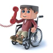 3d render of a boy in a wheelchair answering the phone. Stock Illustration
