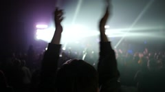 Stock Video Footage of Fan spectator clapping hands up in air enjoying music concert light lumiere