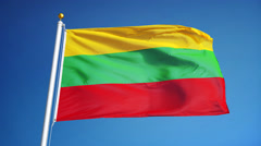 Lithuania flag in slow motion seamlessly looped with alpha Stock Footage