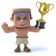 3d render of a bodybuilder holding a gold cup. Stock Illustration