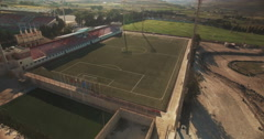 Aerial shot over a Football Ground Stock Footage