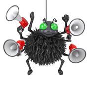 3d render of a spider holding many megaphones Stock Illustration