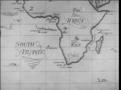 Dissolve from 17th century map of Africa to ship on open sea, 1940s - stock footage